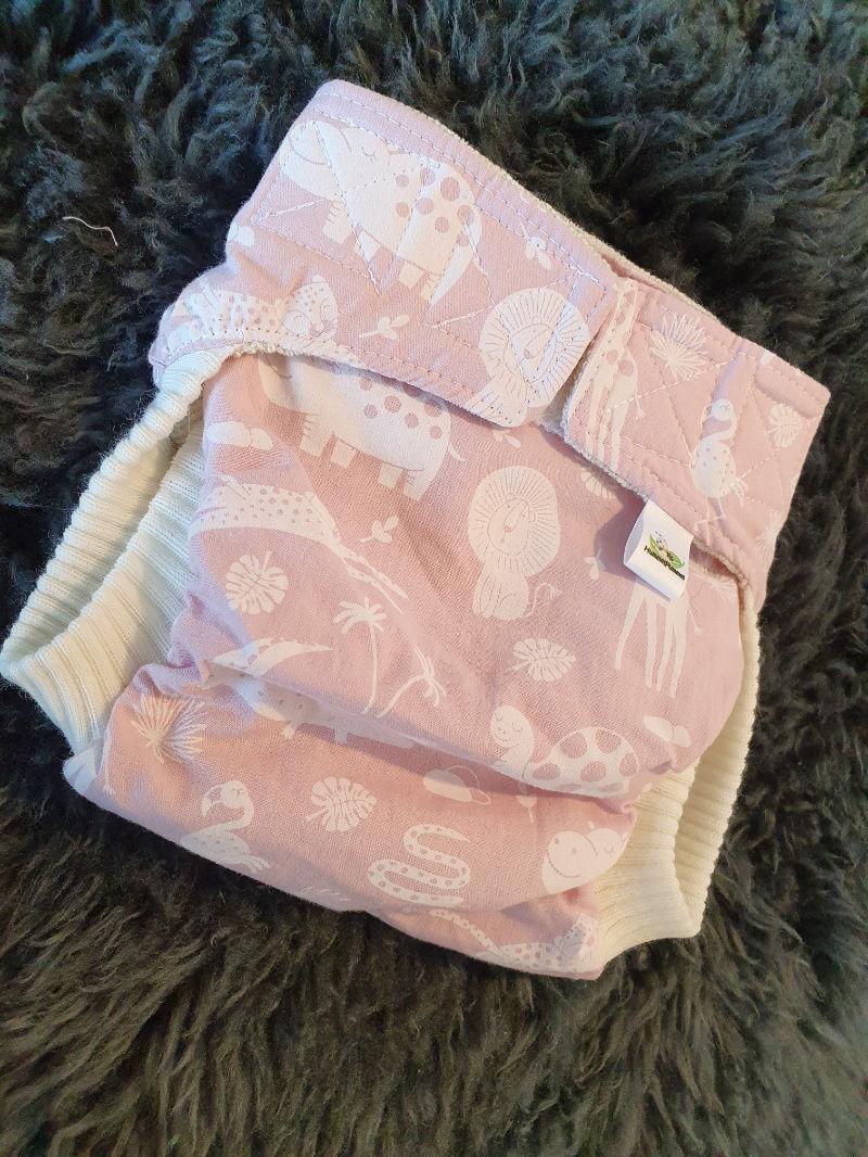 Rosa Babytiere Überhose Large Klett + Komfortbündchen