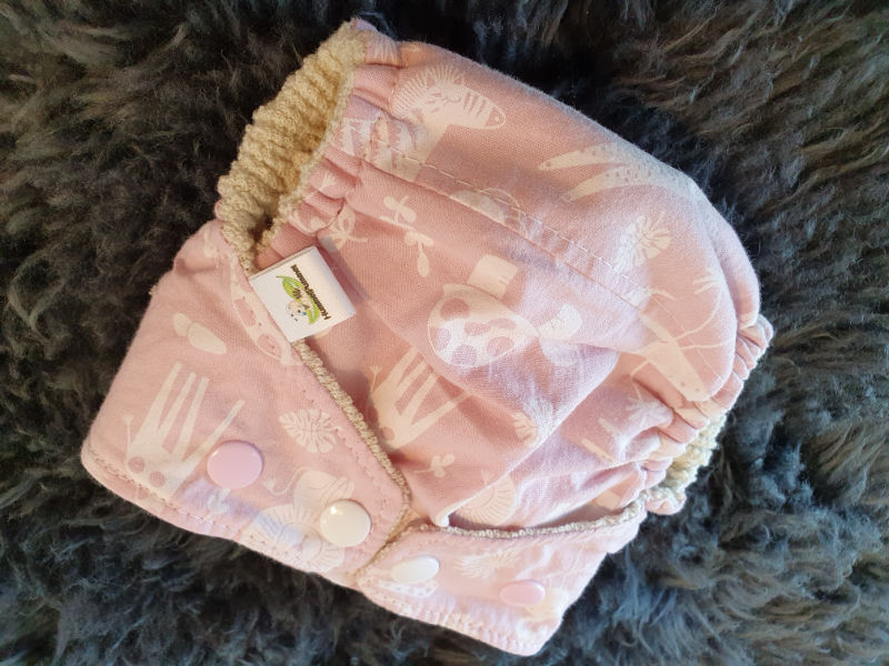 Rosa Babytiere Überhose Newborn Druckknöpfe + Gummibündchen